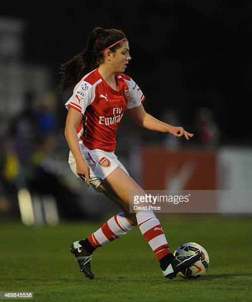 Carla Humphrey of Arsenal Ladies takes on Sophie Ingle of Bristol during the WSL match between Arsenal Ladies and Bristol Academy at Meadow Park on...