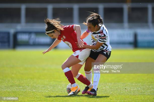 Carla Humphrey of Bristol City battles for possession with Georgia Stanway of Manchester City during the Barclays FA Women's Super League match...