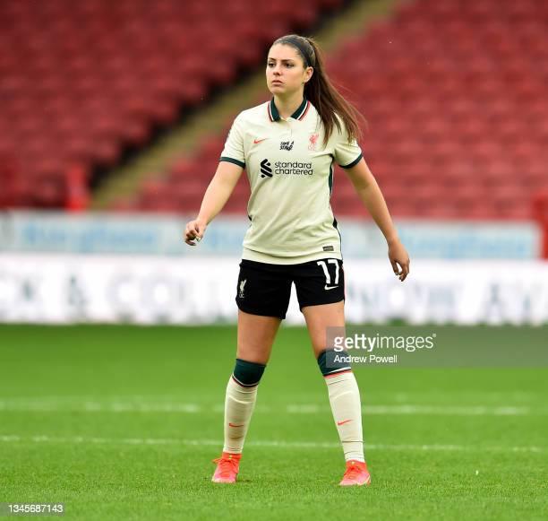 Carla Humphrey of Liverpool Women during the Barclays FA Women's Championship match between Sheffield United Women and Liverpool Women at Bramall...