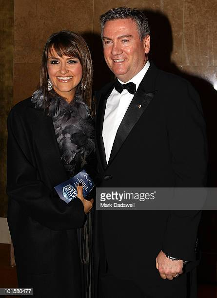 Carla McGuire and Eddie McGuire President of the Collingwood Football Club arrive for the 2010 Australian Football Hall of Fame induction dinner at...