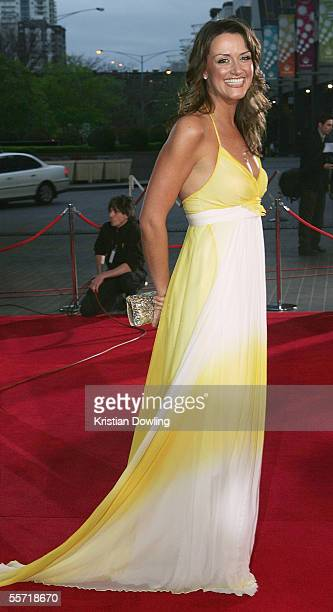 Carla McGuire wife of Collingwood President Eddie McGuire arrives for the Brownlow Medal Dinner at the Crown Casino on September 19 2005 in Melbourne...