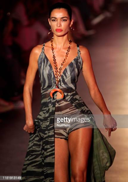 Carla Pereyra wife of Atlético de Madrid coach Diego Pablo Simeone during the fashion show of Maite by Lola Casademunt during the 080 Barcelona...