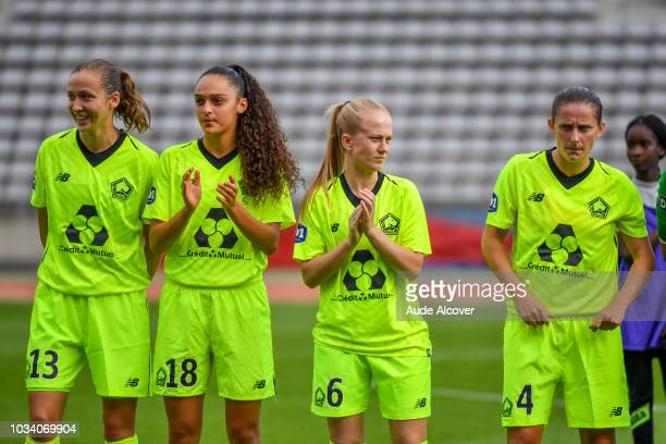 Carla Polito, Lina Boussaha, Silke Demeyere and Jessica Lernon of Lille during the French Women Division 1 match between Paris FC and Lille on...