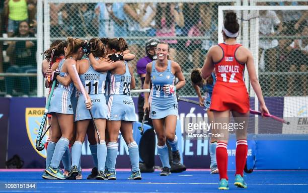 Carla Rebecchi of Argentina celebrates with teammates after scoring the second goal of his team during the Women's FIH Field Hockey Pro League match...