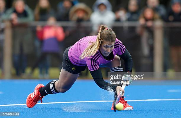 Carla Rebecchi of Argentina hits the ball during an International Friendly match between Argentina and Ireland at CenARD on July 24 2016 in Buenos...