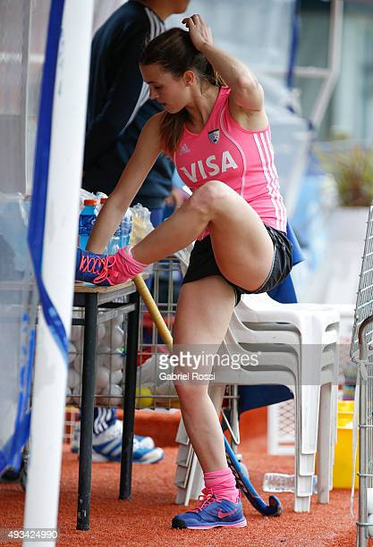 Carla Rebecchi of Argentina stretches during Argentina Female Hockey Team training session at CeNARD on October 20 2015 in Buenos Aires Argentina