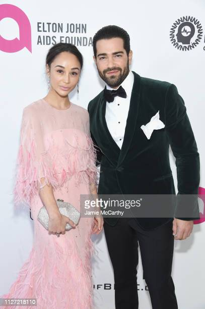 Carla Santana and Jesse Metcalfe attend the 27th annual Elton John AIDS Foundation Academy Awards Viewing Party sponsored by IMDb and Neuro Drinks...
