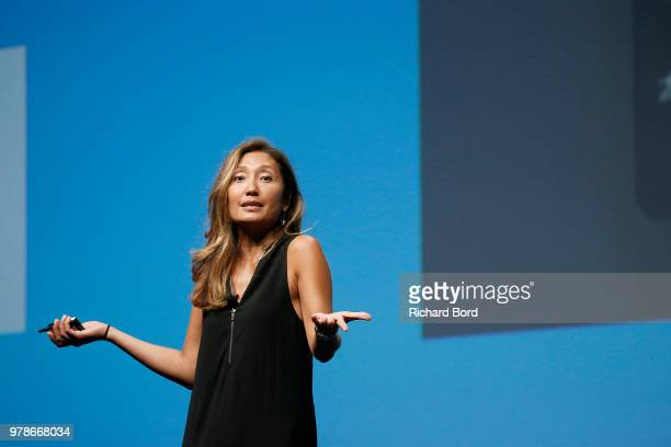 Carla Serrano speaks onstage during the Publicis and Arthur Sadoun session at the Cannes Lions Festival 2018 on June 19 2018 in Cannes France