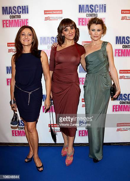 Carla Signoris Lucia Ocone Giorgia Wurth attend the Maschi Contro Femmine Premiere held at Cinema Odeon on October 25 2010 in Milan Italy