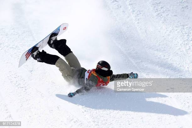 Carla Somaini of Switzerland crashes in the Snowboard Ladies' Slopestyle Final on day three of the PyeongChang 2018 Winter Olympic Games at Phoenix...