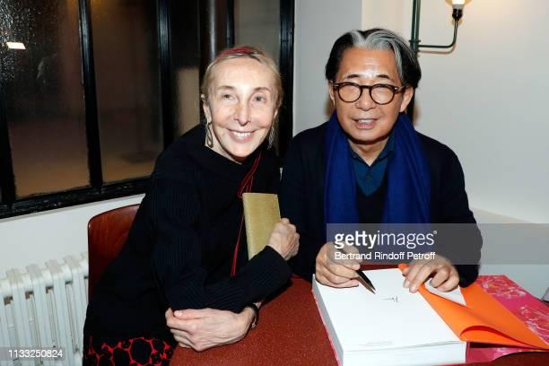 Carla Sozzani and Kenzo Takada attend the Kenzo Takada Book Signing during 'Azzedine Alaia Collectioneur Adrian et Alaia L'art du tailleur'...