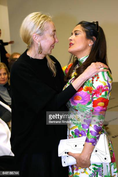 Carla Sozzani and Salma Hayek attend the Balenciaga show as part of the Paris Fashion Week Womenswear Fall/Winter 2017/2018 on March 5 2017 in Paris...