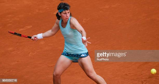 Carla Suarez against Barbora Strycova during day two of the Mutua Madrid Open tennis tournament at the Caja Magica on May 6 2018 in Madrid Spain