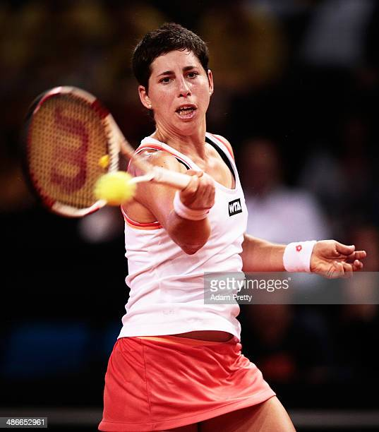 Carla Suarez Navaro Of Spainhits A Forehand During Her Match Against Sara Errani Italy On