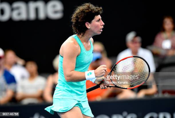 Carla Suarez Navarro of Spain celebrates winning a break point in her match against Elina Svitolina of Ukraine during day two of the 2018 Brisbane...