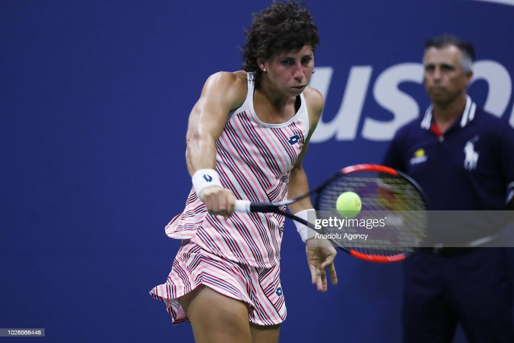 Carla Suarez Navarro of Spain competes against Maria Sharapova (not seen) of Russia during US Open 2018 tournament in New York, United States on September 3, 2018.