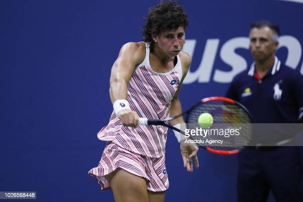 Carla Suarez Navarro of Spain competes against Maria Sharapova of Russia during US Open 2018 tournament in New York United States on September 3 2018