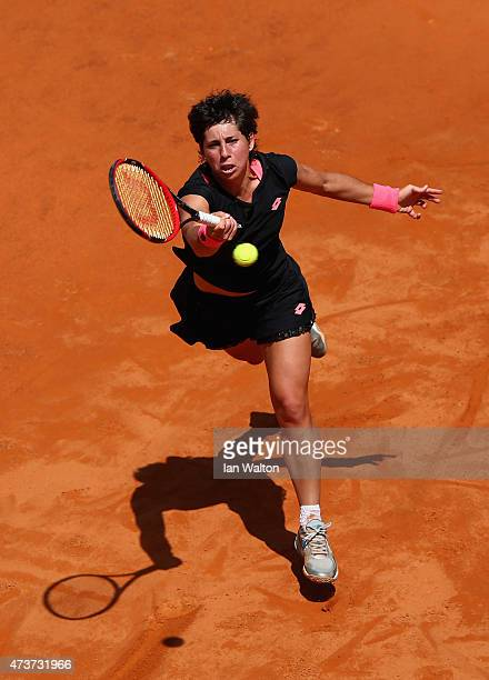 Carla Suarez Navarro of Spain in action against Maria Sharapova of Russia in the Women's Singles Final on Day Eight of The Internazionali BNL...