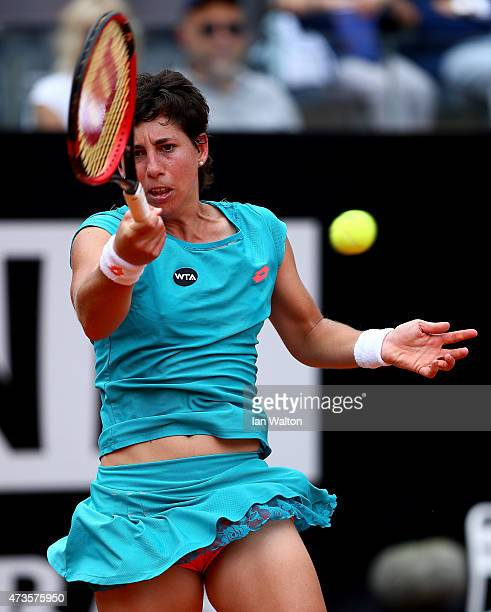 Carla Suarez Navarro of Spain in action during her match against Simona Halep of Romania on Day Seven of the The Internazionali BNL d'Italia 2015 at...