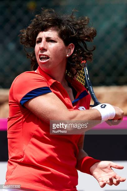 Carla Suarez Navarro of Spain in action in her match against Veronica Cepede Royg of Paraguay during day one of the Fedcup World Group II Playoffs...