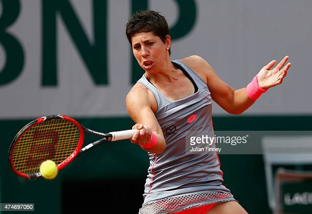 Carla Suarez Navarro of Spain plays a forehand in her Women's Singles match against Monica Niculescu of Romania on day two of the 2015 French Open at...