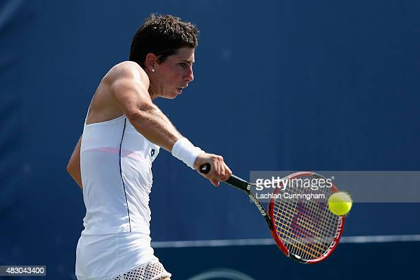 Carla Suarez Navarro of Spain plays against Alison Riske of the United States during day three of the Bank of the West Classic at the Stanford...