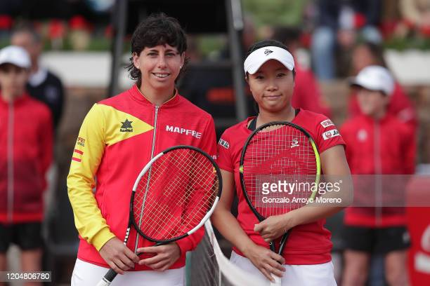 Carla Suarez Navarro of Spain pose for a picture with Kurumi Nara of Japan before their match during day 2 of the Fed Cup BNP Paribas World Cup...