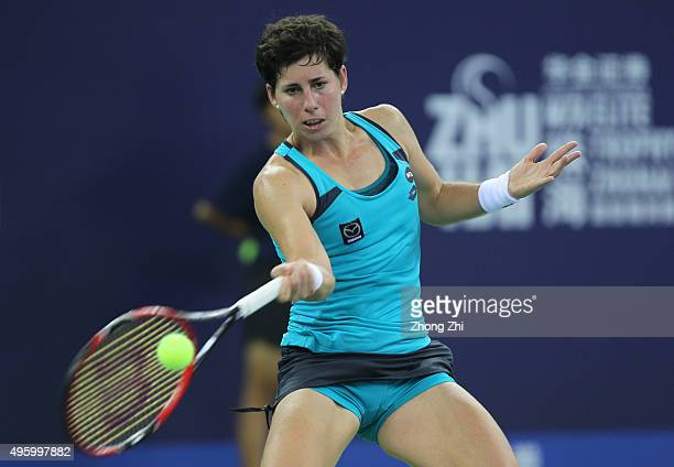 Carla Suarez Navarro of Spain returns a shot during the match against Elina Svitolina of Ukraine on day 5 of Huajin Securities WTA Elite Trophy...