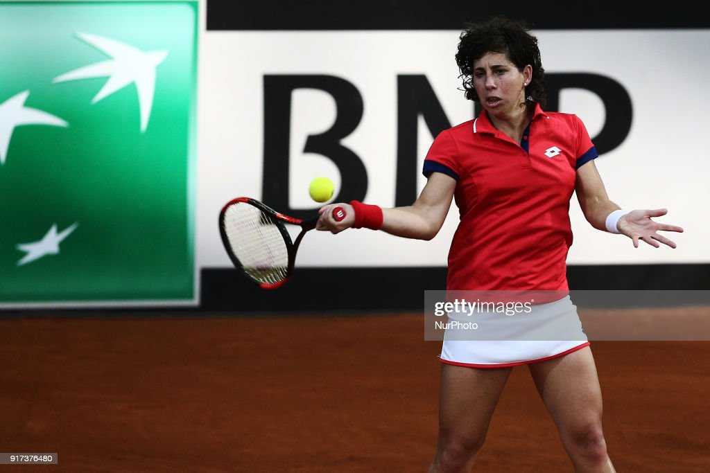 "Carla Suarez Navarro of Spain team during 2018 Fed Cup BNP Paribas World Group II First Round match between Italy and Spain at Pala Tricalle ""Sandro Leombroni"" on February 11, 2018 in Chieti, Italy."