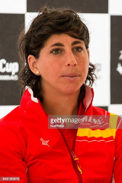 Carla Suarez of Spain during a press conference after the official draw ceremony prior to a match between Spain and Paraguay On April 20 2018 in La...