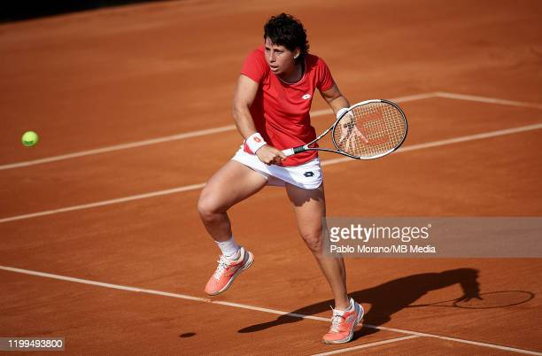 Carla Suarez of Spain in action in her match against Kurumi Nara of Japan during the Fed Cup por BNP Paribas qualifiers second round between Spain...