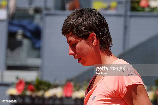 Carla Suarez of Spain in action Sabine Lisicki of Germany their match during day fourth of the Mutua Madrid Open tennis tournament at the Caja Magica...
