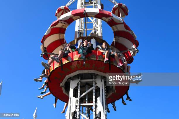 Carla SuarezNavarro of Spain enjoying the rides at Luna Park on day eight of the 2018 Australian Open at Melbourne Park on January 22 2018 in...