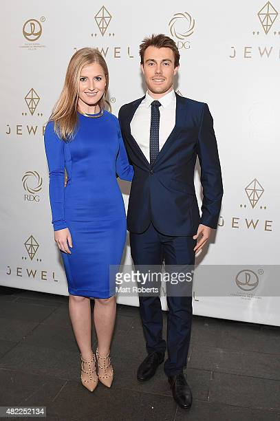 Carla Tooma and Jake Landon arrive at the Wanda Ridong Gold Coast Jewel immersive experience centre at the Hilton Hotel on July 29 2015 on the Gold...