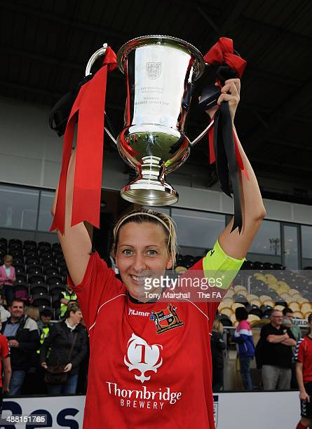 Carla Ward, Captain of Sheffield FC Ladies with the trophy during the FA Women's Premier League Cup Final between Cardiff City Ladies and Sheffield...