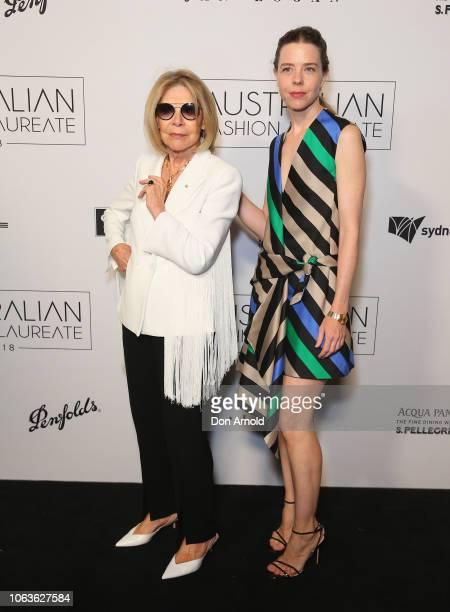 Carla Zampatti and Bianca Spender pose at the 2018 Australian Fashion Laureate Awards on November 20 2018 in Sydney Australia