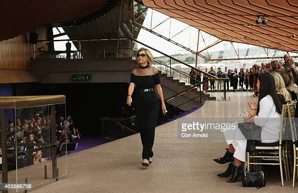 Carla Zampatti receives applause during her 50th anniversary show at Sydney Opera House on April 8 2015 in Sydney Australia