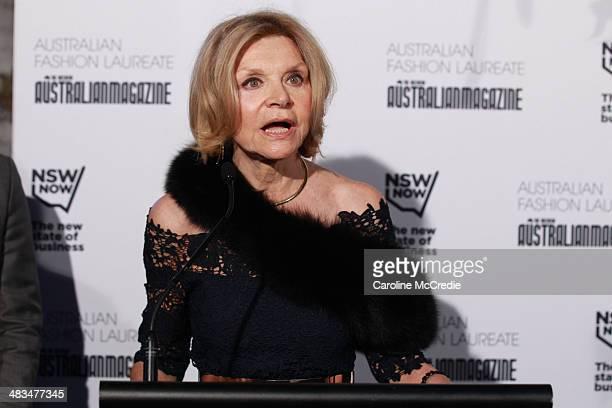 Carla Zampatti speaks at the Australian Fashion Laureate during MercedesBenz Fashion Week Australia 2014 at Star Lounge Carriageworks on April 9 2014...