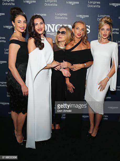 Carla Zampatti stands amongst Longines models during the Longines DolceVita Asia Pacific launch at Museum of Contemporary Art on April 8 2016 in...