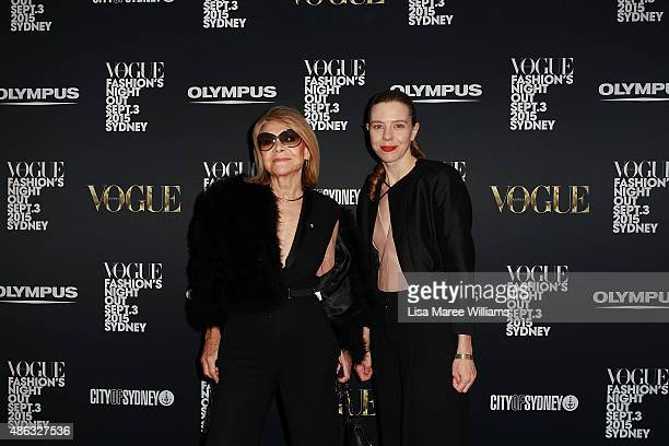 Carla Zampattia and Bianca Spender arrive at the Vogue Fashion's Night Out on September 3 2015 in Sydney Australia
