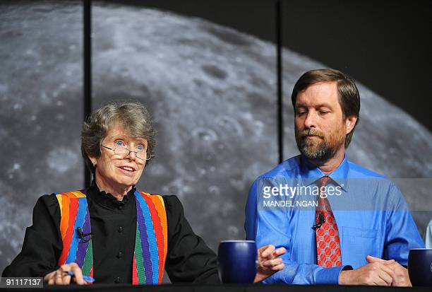 Carle Pieters, principal investigator, Moon Mineralogy Mapper, Brown University speaks as Rob Green, project instrument scientist, Moon Mineralogy...