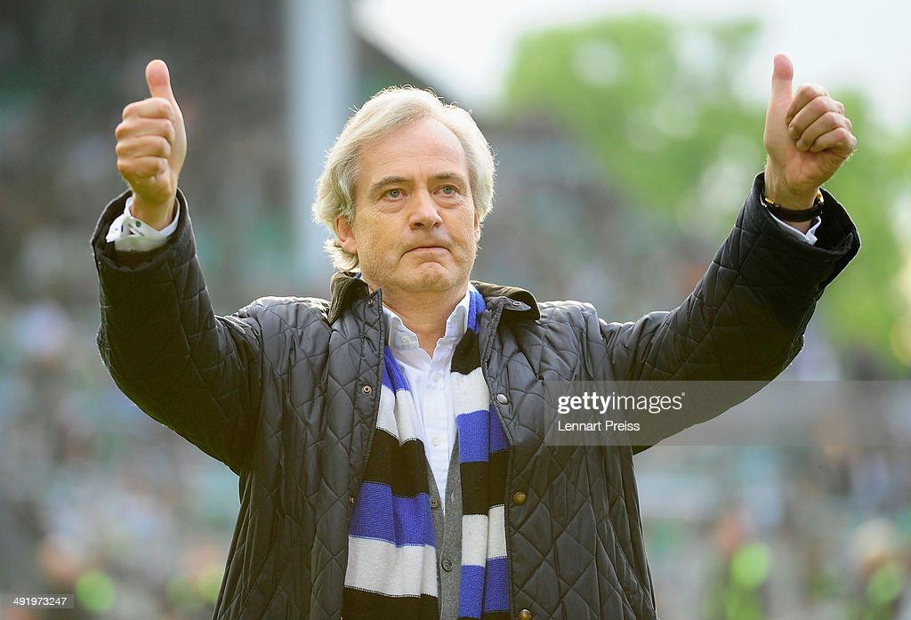 Carl-Edgar Jarchow, CEO of Hamburger SV celebrates after the Bundesliga Playoff Second Leg match between SpVgg Greuther Fuerth and Hamburger SV at Trolli-Arena on May 18, 2014 in Fuerth, Germany.