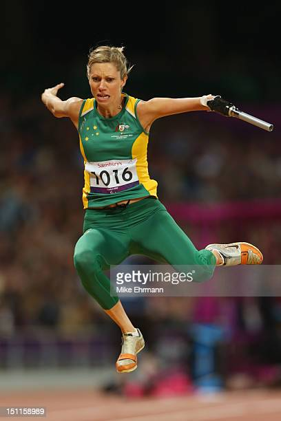 Carlee Beattie of Australia competes in the Women's Long Jump F46 Final on day 4 of the London 2012 Paralympic Games at Olympic Stadium on September...
