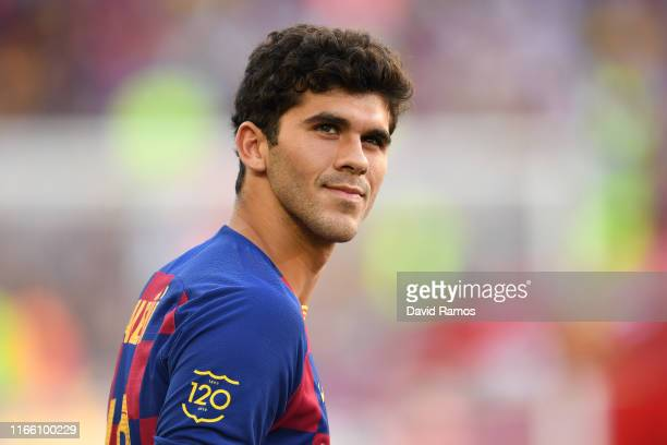 Carles Aleña of FC Barcelona looks on prior to the Joan Gamper trophy friendly match between FC Barcelona and Arsenal at Nou Camp on August 04 2019...