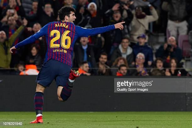 Carles Alena of Barcelona celebrates after scoring his sides second goal during the La Liga match between FC Barcelona and Villarreal CF at Camp Nou...