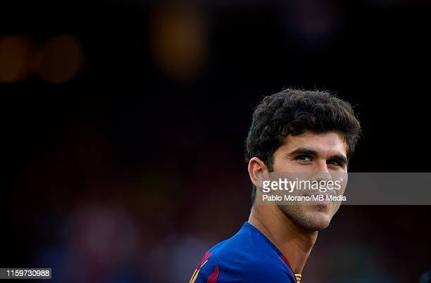 Carles Alena of Barcelona looks on prior the Joan Gamper Trophy match between FC Barcelona and Arsenal FC at Camp Nou on August 4 2019 in Barcelona...