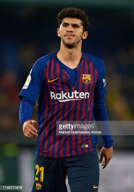 Carles Alena of Barcelona reacts during the La Liga match between Villarreal CF and FC Barcelona at Estadio de la Ceramica on April 02 2019 in...