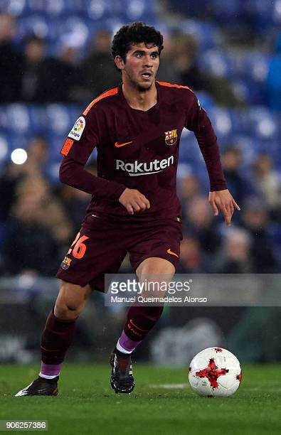 Carles Alena of Barcelona runs with the ball during the Copa Del Rey 1st leg match between RCD Espanyol and FC Barcelona at Nuevo Estadio de...