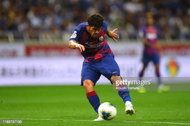 Carles Alena of Barcelona shoots at goal during the preseason friendly match between Barcelona and Chelsea at the Saitama Stadium on July 23 2019 in...
