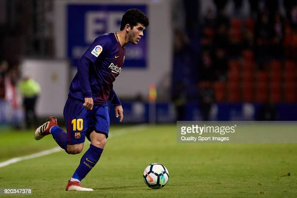 Carles Alena of FC Barcelona B in action during the La Liga 123 match between CD Lugo and FC Barcelona B at Angel Carro Stadium on February 18 2018...